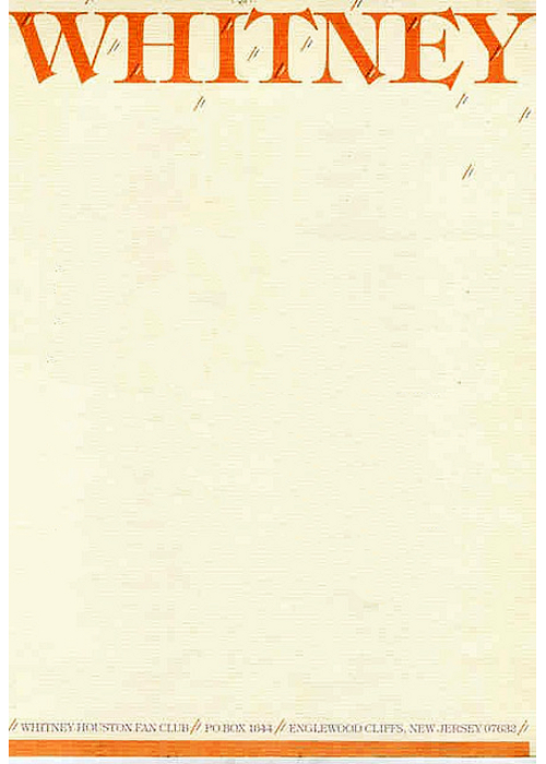Whitney Houston Letterhead